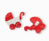 Botão infantil de plástico Sp ref. carrinho de bebê vermelho c/ 24 un