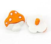 Botão infantil de plástico Sp ref. cogumelo laranja c/ 24 un