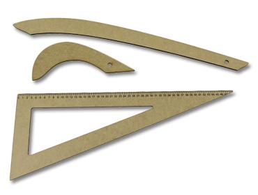 Jogo de réguas para costura Kas Maq c/3 unidades