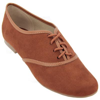 Sapato feminino oxford Beira Rio 4150200 Camurça Marrom
