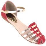 Sandália Via Bag 14052 Vermelho Ouro