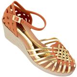 Sandália feminina Via Bag 859 Caramelo Ouro