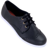 Sapato feminino Oxford Kalyta 4007 Preto Sintético
