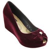Sapato Feminino Miss Miss Peep Toe Flocado 9675 Bordo
