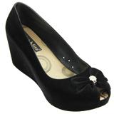Sapato Feminino Miss Miss Peep Toe Flocado 9675 Preto