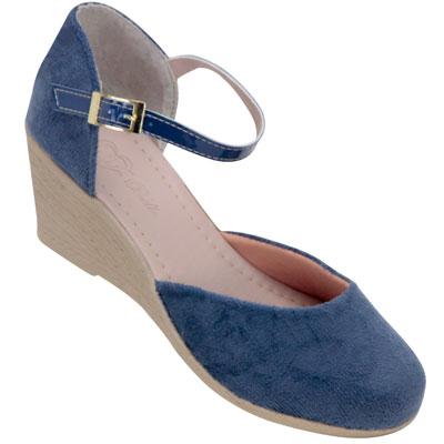 Sapato feminino Via Bella de Veludo 1134 Marinho