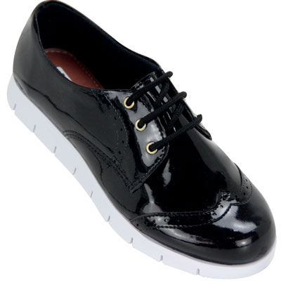 Sapato feminino Oxford Kalyta 4006 Preto Verniz