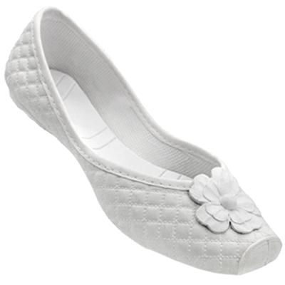 Sapatilha Feminina Kichen Flor Branca