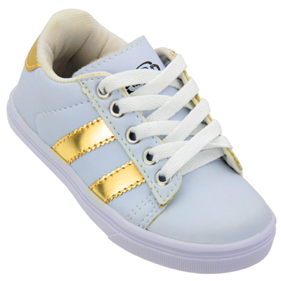 Tênis Infantil Spad CB110 Branco/Ouro