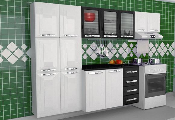 739252 - Cozinha Colormaq Class in Grande 3 Pe�as Branco / Preto