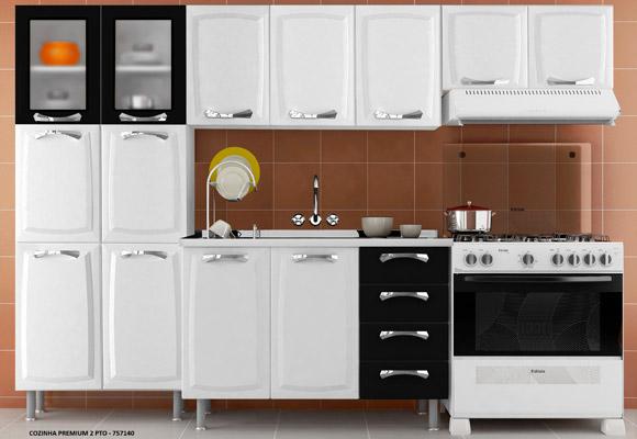 757140 - Cozinha Premium Itatiaia 3 Pe�as - Branco com Preto