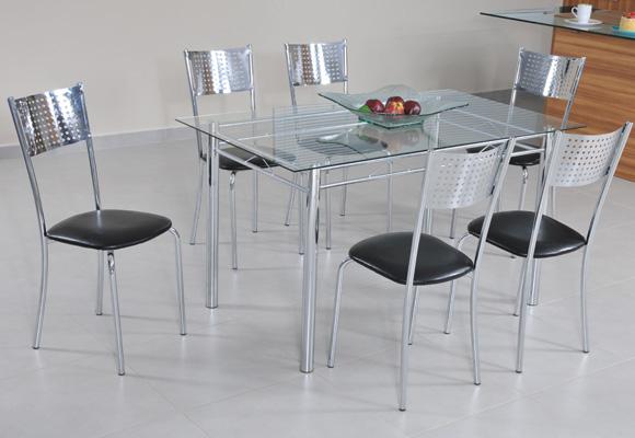 795630 - Conjunto Mesa c/ 6 Cadeiras Cristal 50256 - Modecor
