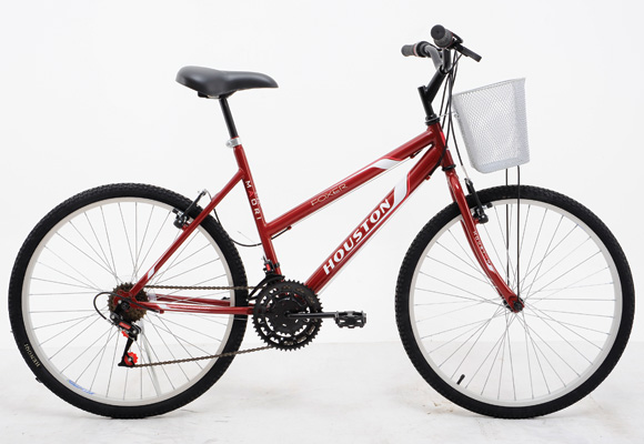 820448 - Bicicleta Houston A26 Foxer c/ Cesta Vermelho