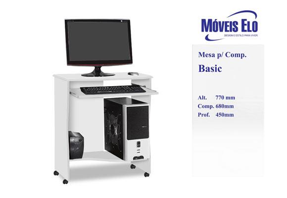 853347 - Escrivaninha Basic com rod�zio Moveis ELO Branca