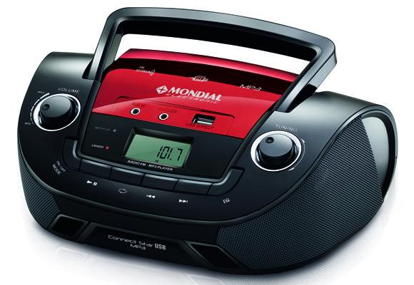 881289 - R�dio MP3 Mondial USB/SD BX11 Preto/Vermelho Bivolt