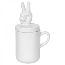 Caneca Cer�mica Peace and Love Branco - Home It