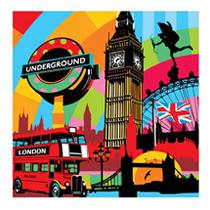 Quadro I Love London 68 x 68cm - Lobo