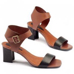 Sandália Salto Medio em couro preto com marrom 56117