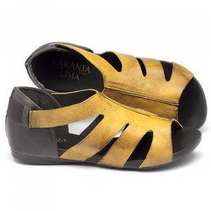 Rasteira Flat em couro amarelo 137075
