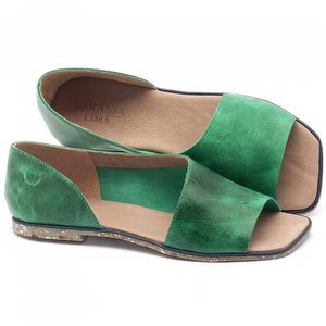 Rasteira Flat em couro verde com palmilha em couro - Código - 145013