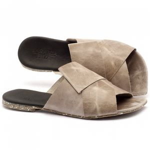 Rasteira Flat em couro cinza com palmillha em couro - Código - 145015