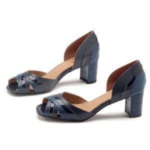 Peep Toe Salto Medio Salto grosso de 6cm Azul Marinho 3399