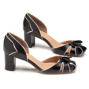 Sandália Salto Medio de 6cm preta 3415