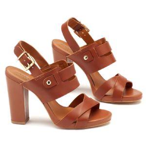 Sandália Salto Alto de 10cm e pata de 1cm marrom em couro 102115