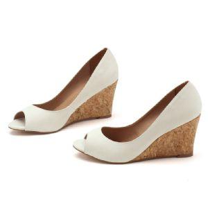 Peep Toe Salto Alto de 8 cm Creme 9339