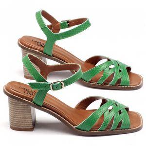 Sandália Salto Medio de 7cm em couro verde 3459