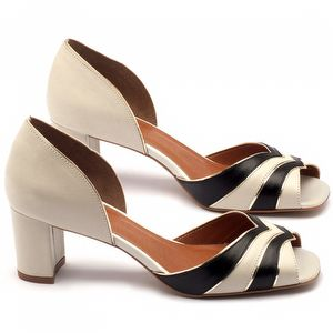 Sandália Salto medio de 6cm em couro off-white com preto - Código - 3518