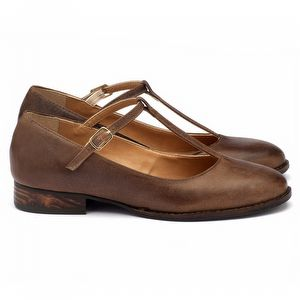 Sapato Retro Estilo Boneca em couro marrom 9376