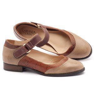 Sapato Retro Modelo em couro bege - Código - 9400