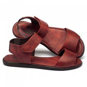 Rasteira Flat em couro vermelho 141011