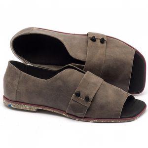 Rasteira Flat em couro cinza - Código - 145002