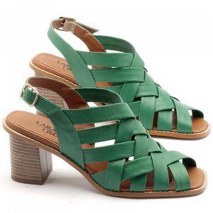Sandália Salto médio de 7cm em couro verde - Código - 3544