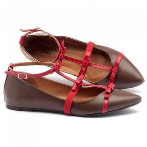 Sapatilha Bico Fino em couro marrom com vermelho 3501