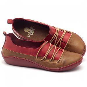 Tênis Cano Alto em couro vermelho com caramelo - Código - 139012