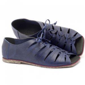 Rasteira Flat em couro azul com palmilha em couro - Código - 145019