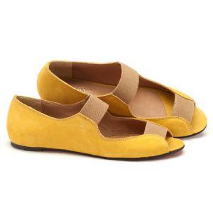 Sapatilha Bico Aberto amarelo com solado vermelho 56030
