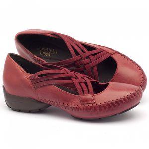 Sapato Retro Estilo Boho-Chic em couro vermelho - Código - 136063