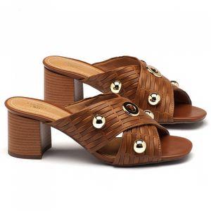 Sandália Salto Medio de 6cm em couro caramelo 143002