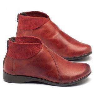 Bota Cano Curto em couro vermelho - Código - 137086