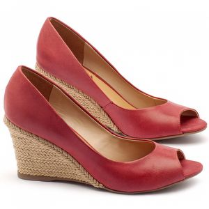 Peep Toe Salto Medio de 7cm em couro vermelho - Código - 9413