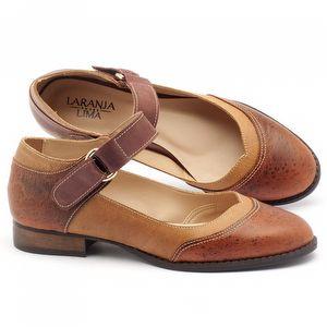 Sapato Retro Modelo em couro Whisky - Código - 9400