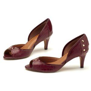 Peep Toe Salto Medio de 7cm Vinho com estampa em Croco e Verniz 3389