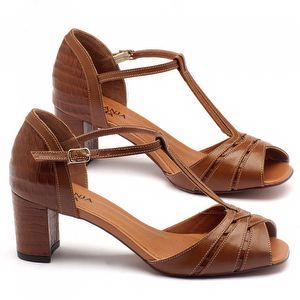 Sandália Salto médio de 6cm em couro caramelo - 3499