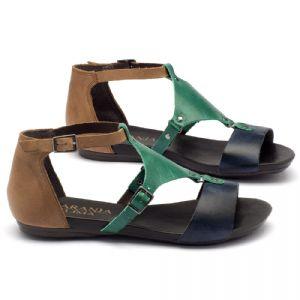 Rasteira Flat em couro azul, verde e amendoa 137053
