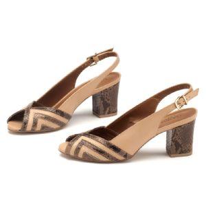 Sandália Salto Medio Nude Chanel Salto de 7cm 102084