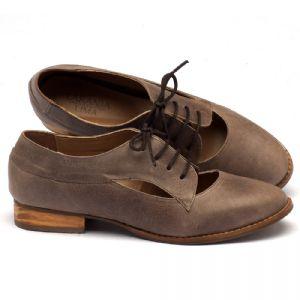 Sapato Retro Estilo Oxford em couro marrom 9383